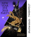 new year party invitation card... | Shutterstock .eps vector #744849517