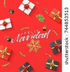 spanish text feliz navidad.... | Shutterstock .eps vector #744853513