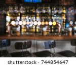 bar counter with seats stool... | Shutterstock . vector #744854647