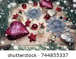 christmas background and... | Shutterstock . vector #744855337