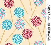 seamless pattern with striped... | Shutterstock .eps vector #744857287