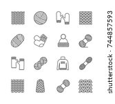 knit icon set. yarn  knittind... | Shutterstock . vector #744857593