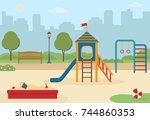children's playground in the... | Shutterstock .eps vector #744860353