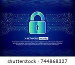 abstract high tech circuit... | Shutterstock .eps vector #744868327