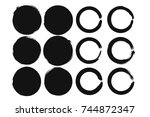 set of black grunge circle... | Shutterstock .eps vector #744872347