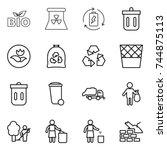 thin line icon set   bio ... | Shutterstock .eps vector #744875113