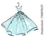 wedding dress design  black and ... | Shutterstock .eps vector #744878137