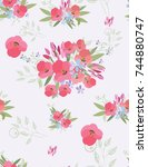 floral seamless background for... | Shutterstock .eps vector #744880747