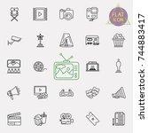 cinema  movie line icons set ... | Shutterstock .eps vector #744883417