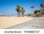 bike lane down the venice beach ... | Shutterstock . vector #744888727