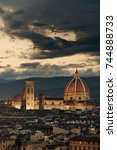 florence cathedral with city... | Shutterstock . vector #744888733