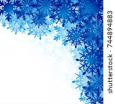 winter background  snowflakes   ... | Shutterstock . vector #744894883