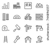 thin line icon set   graph ... | Shutterstock .eps vector #744896557