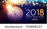 happy new 2018 year background... | Shutterstock .eps vector #744898237