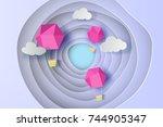 paper art of pink balloon on... | Shutterstock .eps vector #744905347