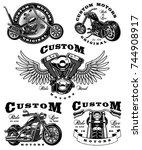set of vintage biker emblems... | Shutterstock . vector #744908917