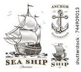 set of vintage ships on white... | Shutterstock . vector #744909013