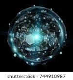 holograms datas digital sphere... | Shutterstock . vector #744910987