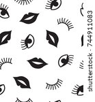 seamless pattern with mouth and ...   Shutterstock .eps vector #744911083