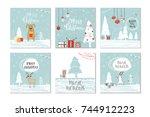 set of 6 cute christmas gift... | Shutterstock .eps vector #744912223