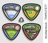 vector set of sport logos  4... | Shutterstock .eps vector #744917377