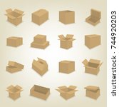 set of cardboard box icons... | Shutterstock .eps vector #744920203