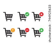 shopping carts icon collection  ... | Shutterstock .eps vector #744925633