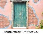 old door wall. | Shutterstock . vector #744925927