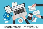 human resources meeting  top... | Shutterstock .eps vector #744926047