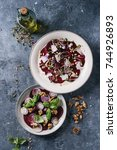 vegetarian beetroot carpaccio...   Shutterstock . vector #744926893