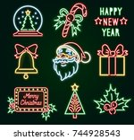 set christmas neon sign. neon... | Shutterstock .eps vector #744928543