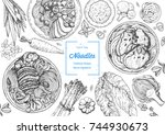 asian food engraved sketch.... | Shutterstock .eps vector #744930673
