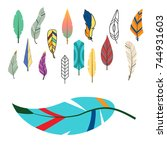 tribal flat feather different... | Shutterstock .eps vector #744931603