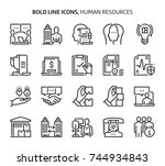 human resources  bold line...   Shutterstock .eps vector #744934843