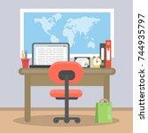working desk top with... | Shutterstock .eps vector #744935797