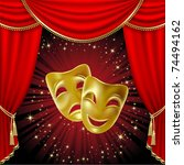 Theatrical mask on a red background. Mesh. Clipping Mask - stock vector