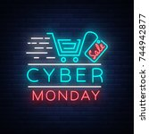 cyber monday concept banner in... | Shutterstock .eps vector #744942877