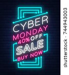 cyber monday  discount sale... | Shutterstock .eps vector #744943003