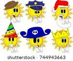 cartoon sun with clapping hands.... | Shutterstock .eps vector #744943663