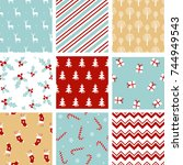 set christmas seamless pattern. ... | Shutterstock .eps vector #744949543