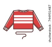 knitted warm winter sweater... | Shutterstock .eps vector #744951487