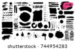 big collection of black paint ... | Shutterstock .eps vector #744954283