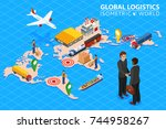global logistics network flat... | Shutterstock .eps vector #744958267