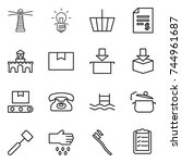 thin line icon set   lighthouse ... | Shutterstock .eps vector #744961687