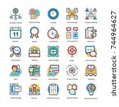 project management icons set   | Shutterstock .eps vector #744964627