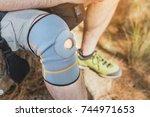 close up of knee support brace... | Shutterstock . vector #744971653