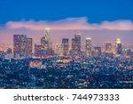 skyline of los angeles ...   Shutterstock . vector #744973333