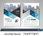 blue annual report brochure... | Shutterstock .eps vector #744977857