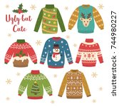 cute set of ugly christmas... | Shutterstock .eps vector #744980227