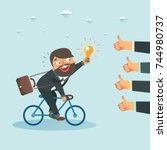 businessman with new idea... | Shutterstock .eps vector #744980737